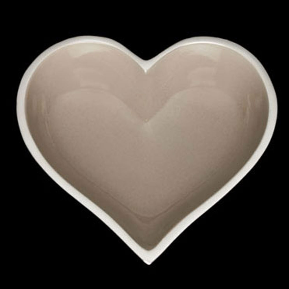 Happy Taupe Heart with Heart Spoon