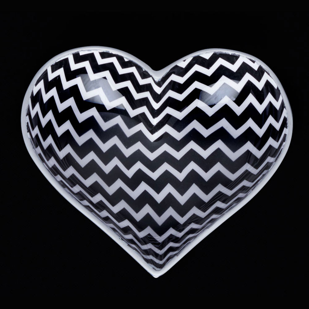 Happy Black and White Zigz Zag Heart with Lil Heart Spoon