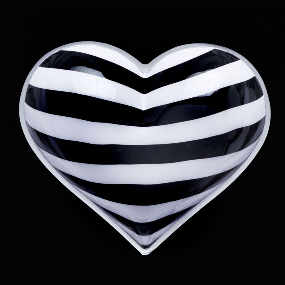 Happy Black and White Stripe Heart with Lil Heart Spoon
