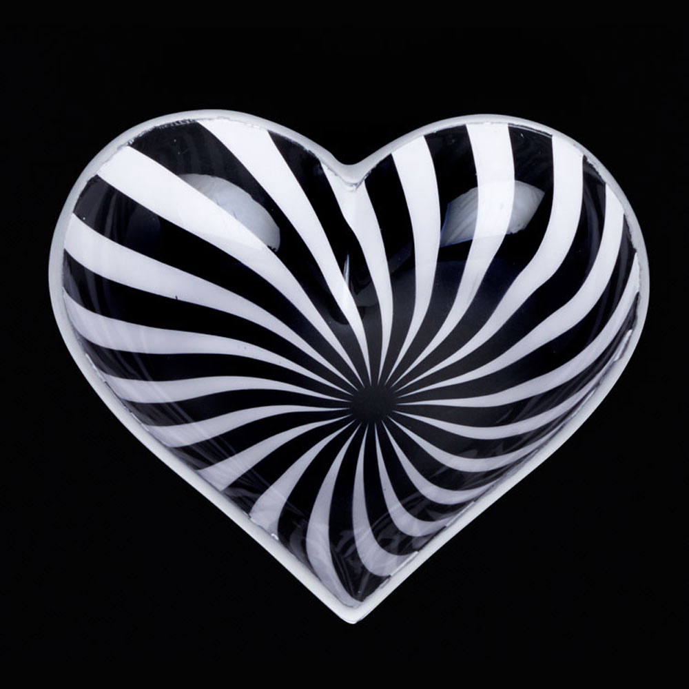 Happy Black and White Wowzer Heart with Lil Heart Spoon