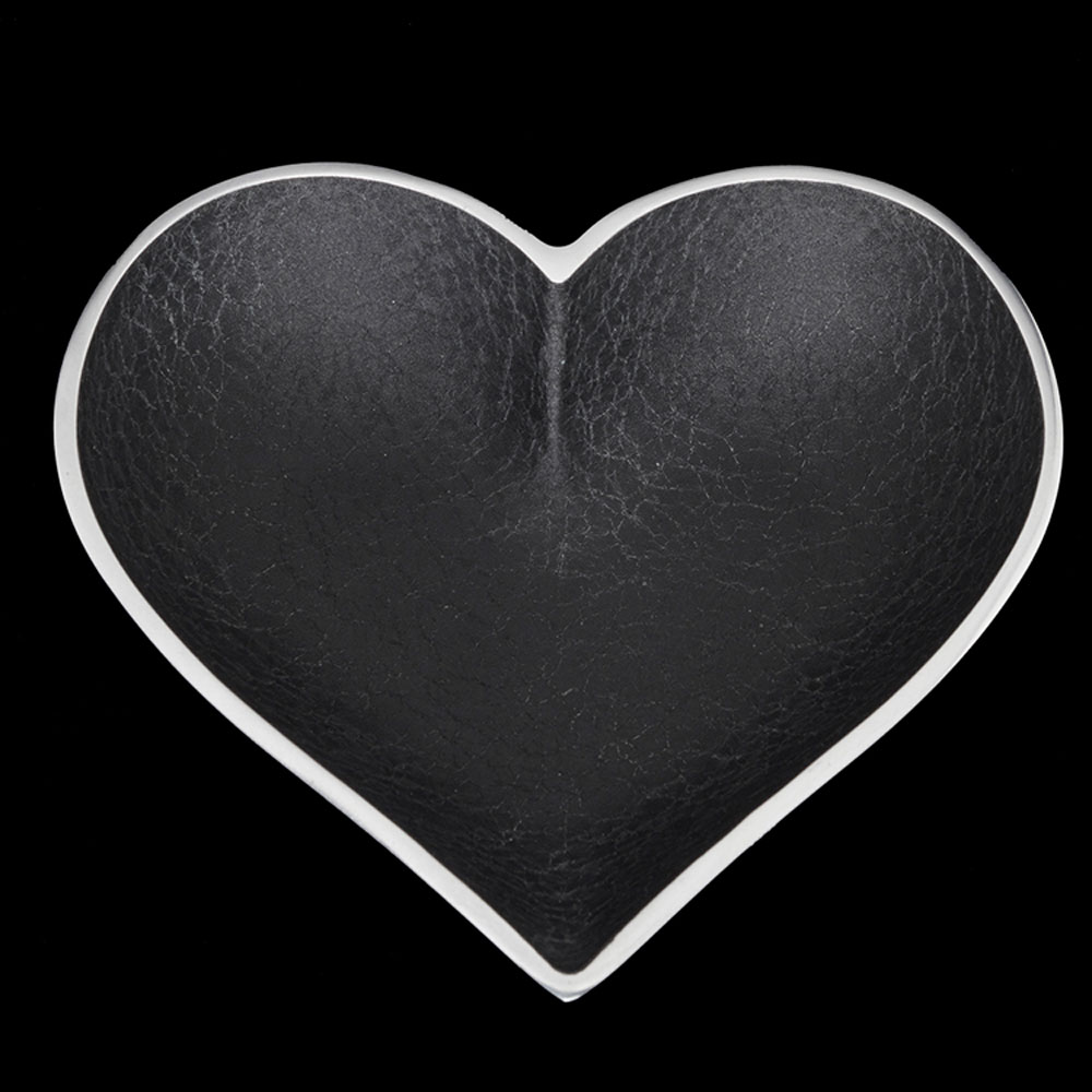 Black Leather Heart with Heart Spoon