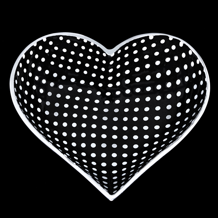 Tiny Black Heart with White Dots