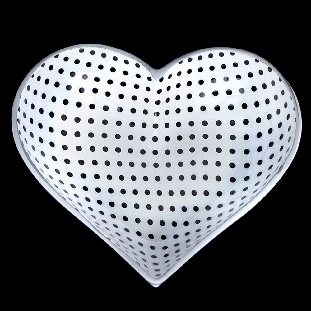 Tiny White Heart with Black Dots