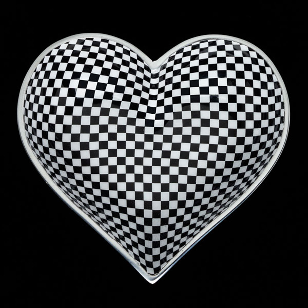 Happy Checkerboard Heart with Heart Spoon
