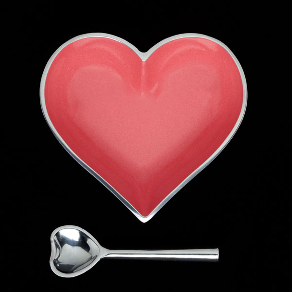 Happy Coral Heart with Heart Spoon