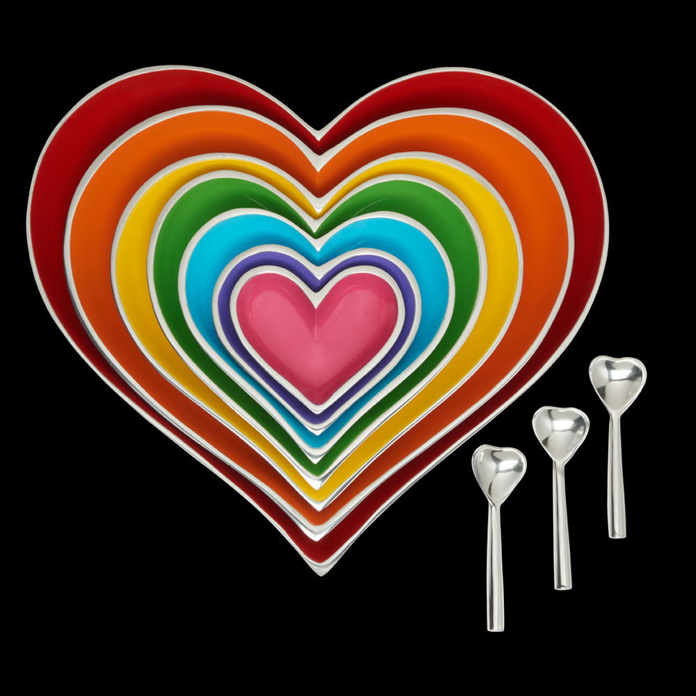 Rainbow Seven Hearts Set with 3 Heart Spoons