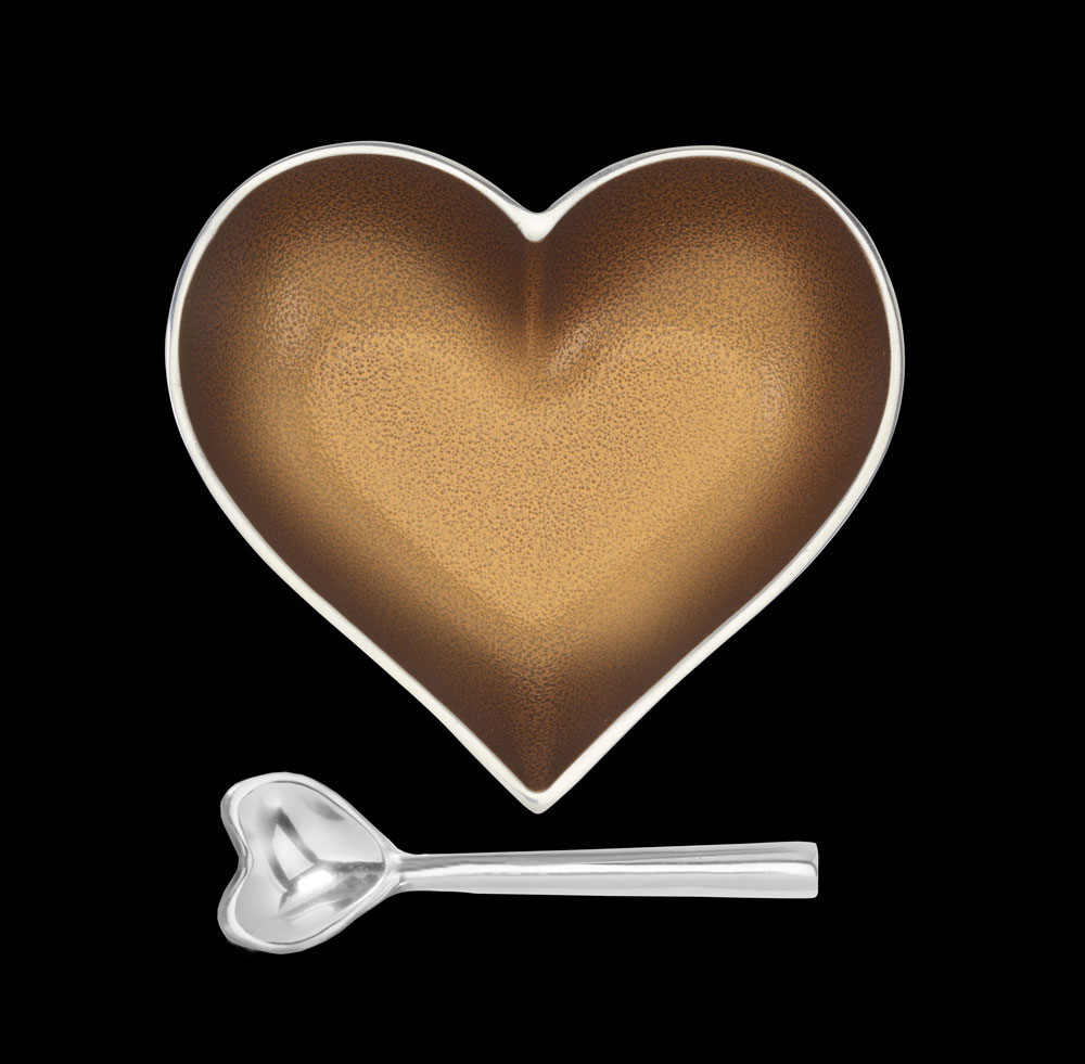 Happy Antique Gold Heart with Heart Spoon
