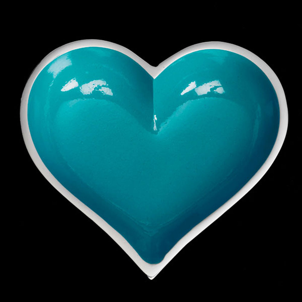 Happy Aqua Heart with Heart Spoon