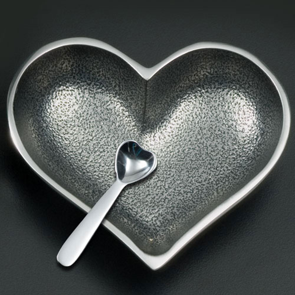 Happy Silver Heart with Heart Spoon